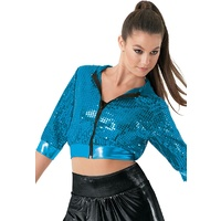 Cropped Sequin Hoodie