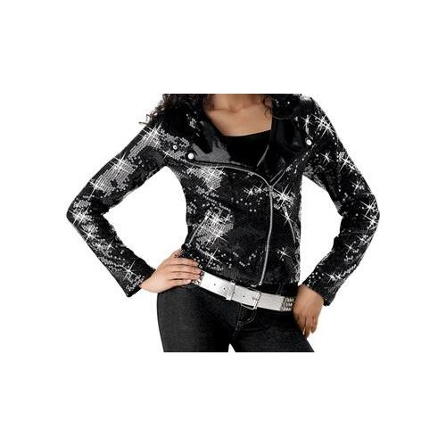 Sequin Motorcycle Jacket (Colour: Black; Size: MC)